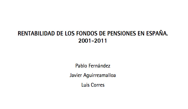 Rentabilidad Fondos Pensiones (dic 2001 - dic 2011)