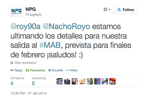 NPG twitter 27 enero debut mab