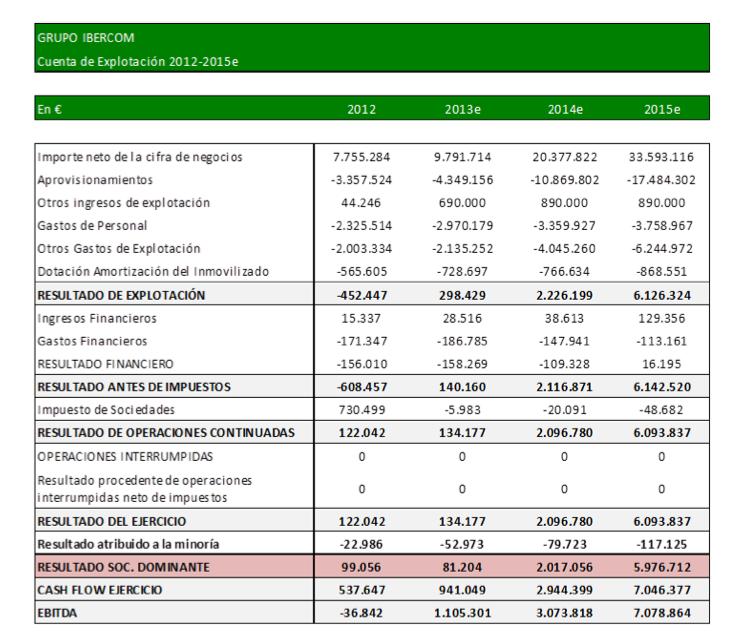Plan Negocio 2013e - 2015e Ibercom PyG