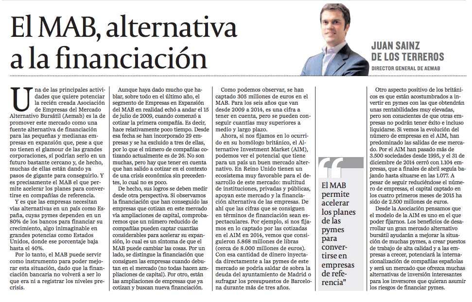 El MAB - Alternativa a la financiación (Juan ST - Cinco Días)