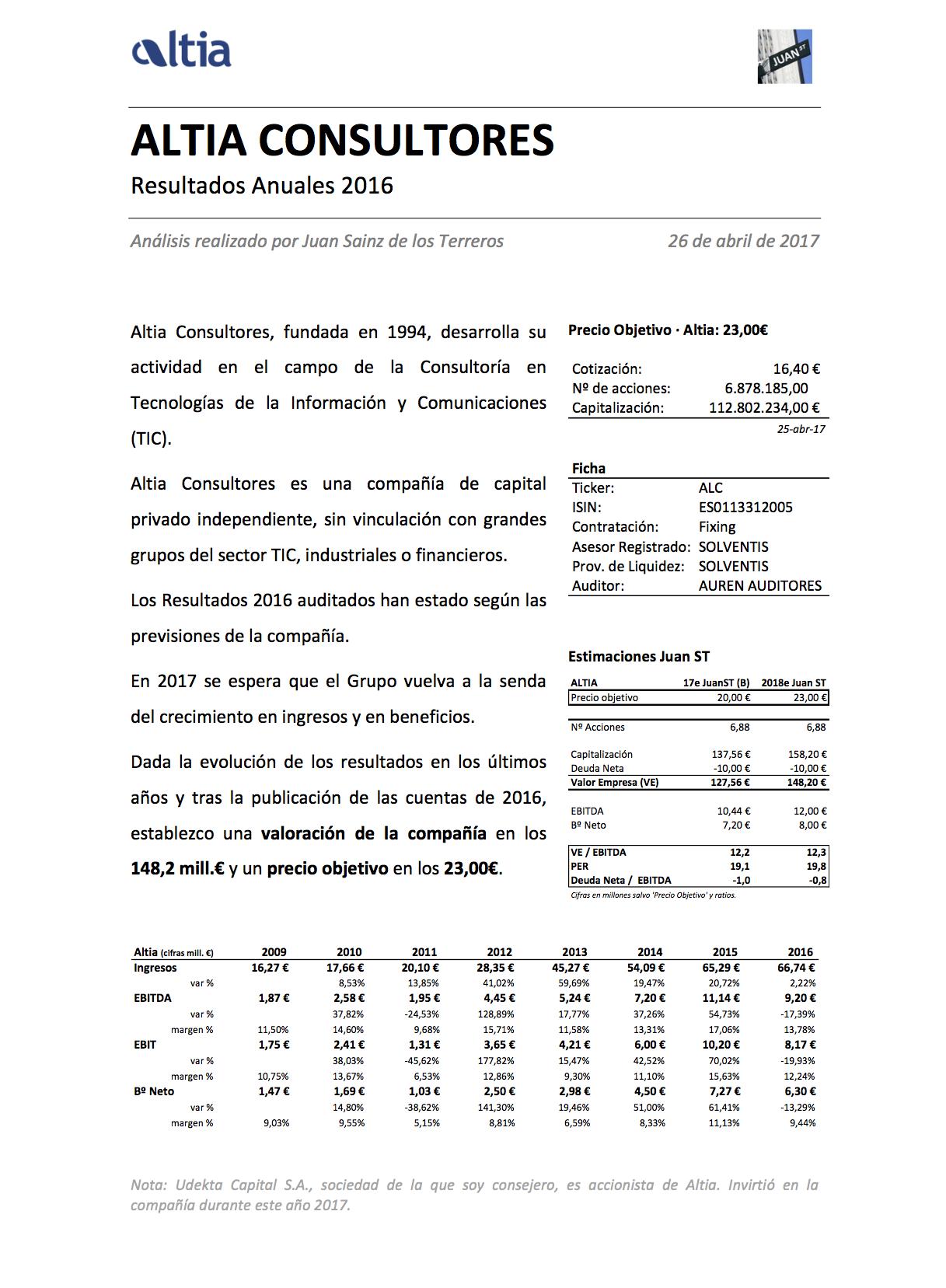 altia resultados 2016 analisis por juan st juan sainz de los terreros altia resultados 2016 analisis por juan st